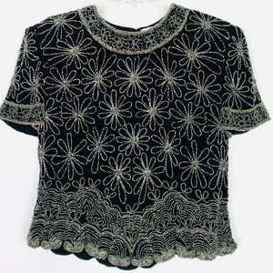 Vintage Papell Boutique Silk Beaded Evening Top
